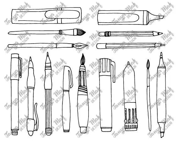 Hand Drawn Pen Scrapbook Clipart, Pen Photoshop Overlays