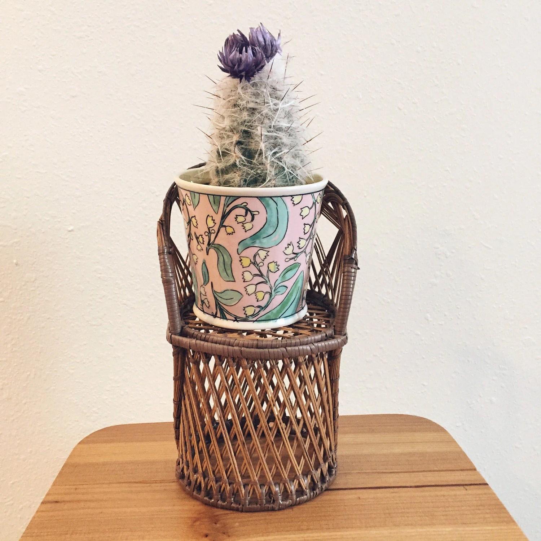 chair planter stand barcelona original wicker plant peacock holder