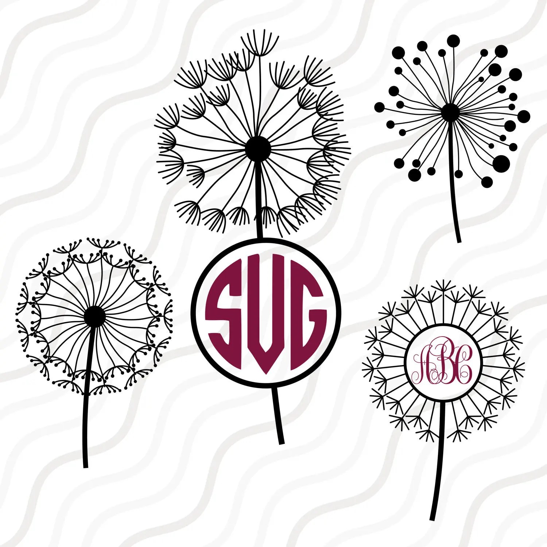 Dandelion Flower Svg Dandelion Svg Dandelion Monogram Svg