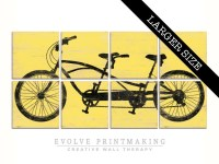 Large Tandem Bicycle Wall Art Large Bike by EVOLVEPRINTMAKING