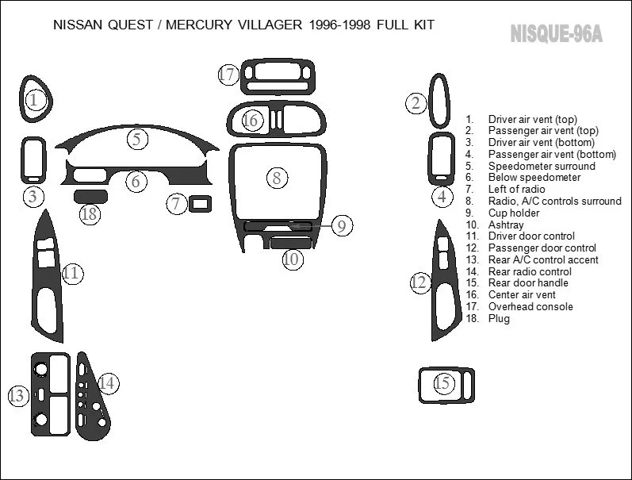Nissan Quest 1996 1997 1998 Premium Interior Set Wood Carbon