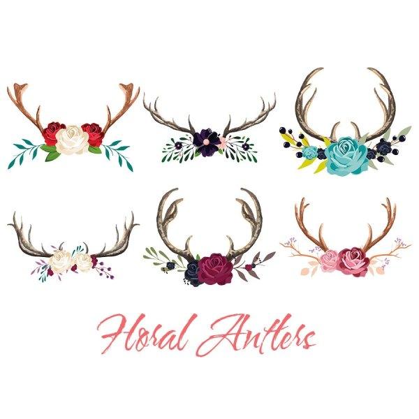 Floral Antler Clip Art Deer Boho