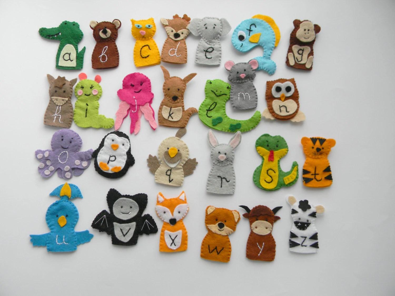 26 Zoo Phonics Animals Felt Finger Puppets Wool Felt Finger