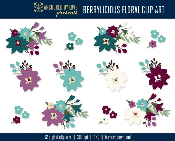 fall flowers clip art purple floral