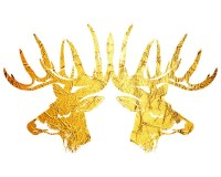Deer wall art print Gold Deer art Large Deer printWoodland