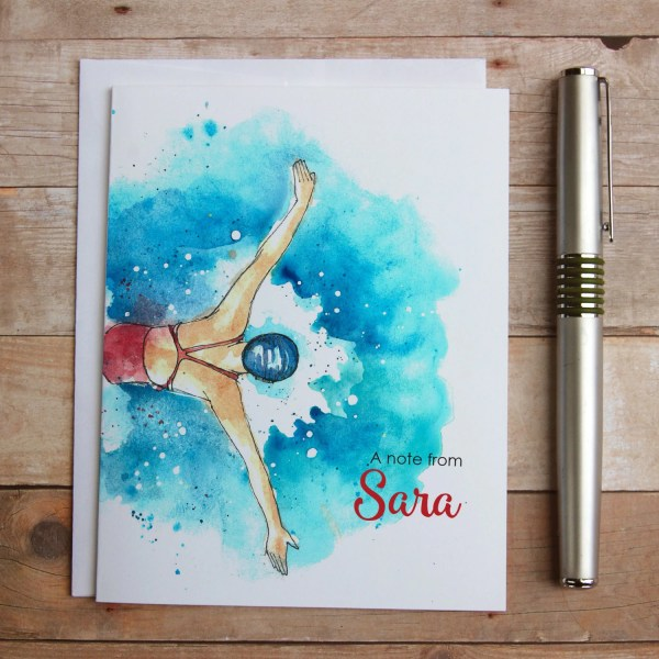 Personalized Swimmer Note Cards Swim Coach
