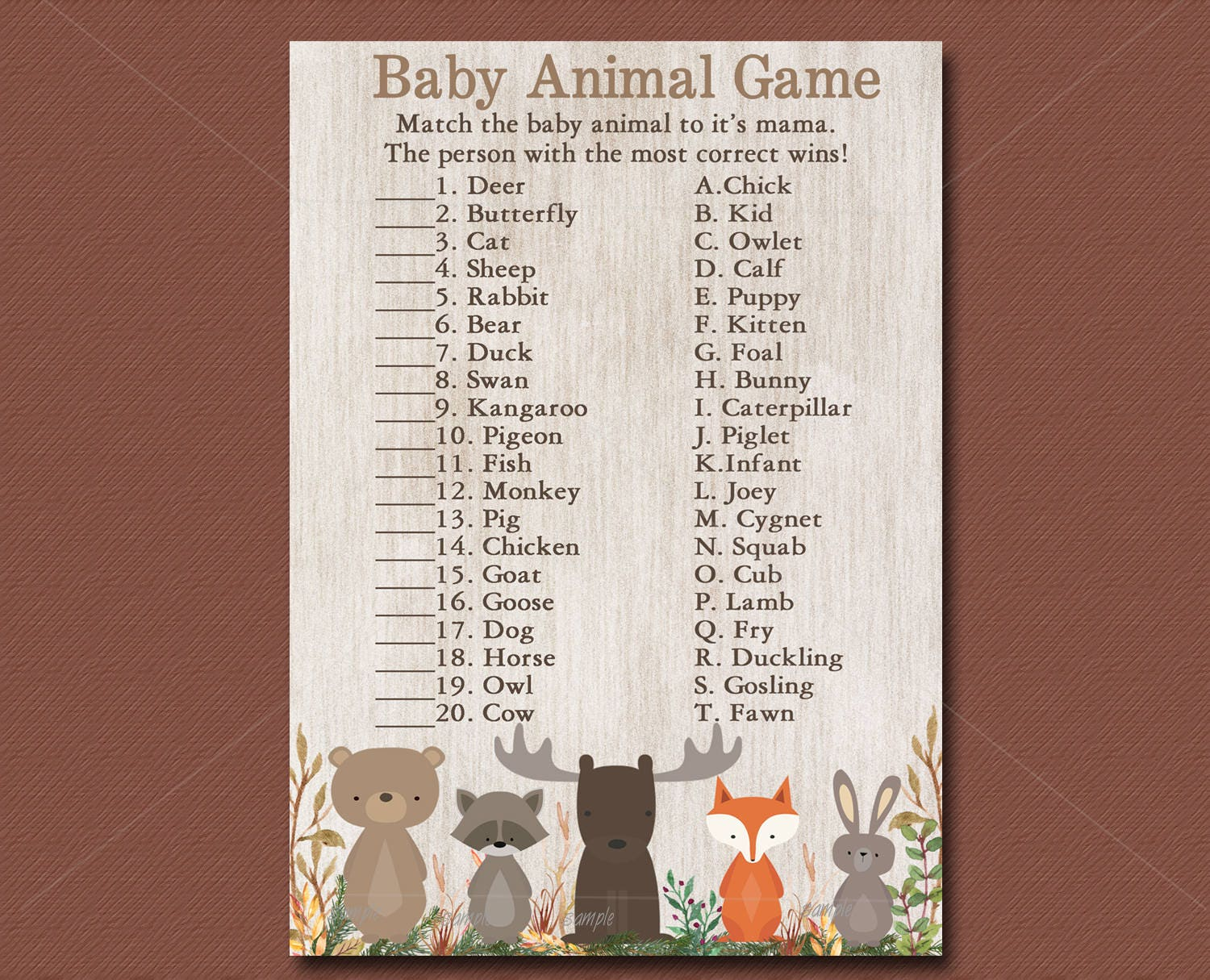 Woodland Baby Shower Game Baby Animal Game Printable Forest