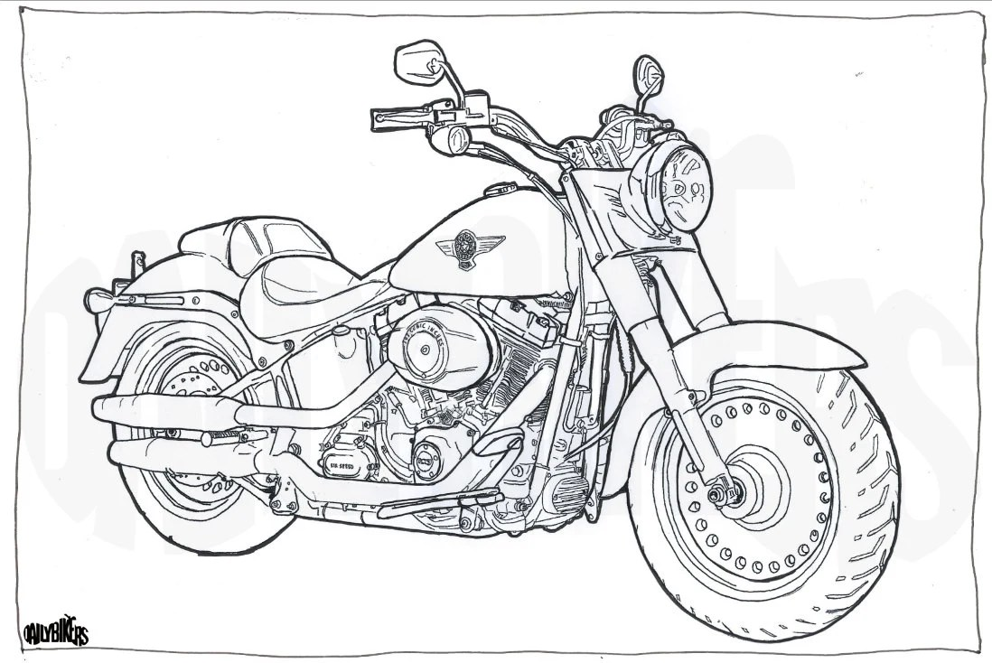 Pen and Ink drawing of a HarleyDavidson Fatboy done using