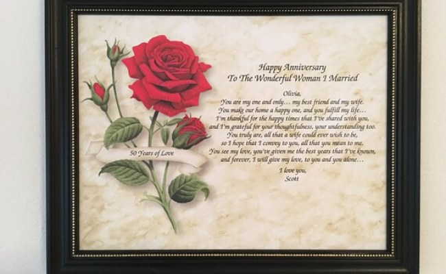 50th Anniversary Gift For Wife Love Poem Personalized