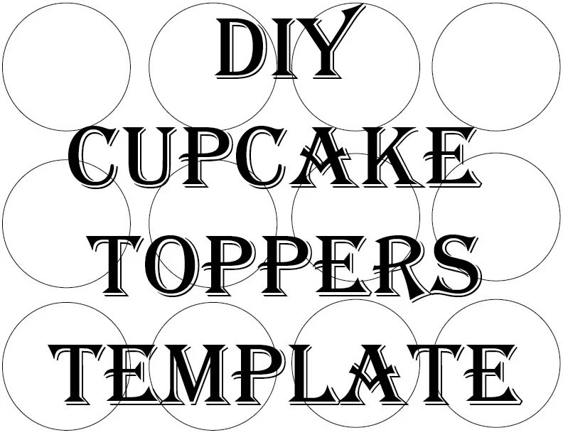 Blank Cupcake Topper Template Printable DIY 2 1/2 Inch