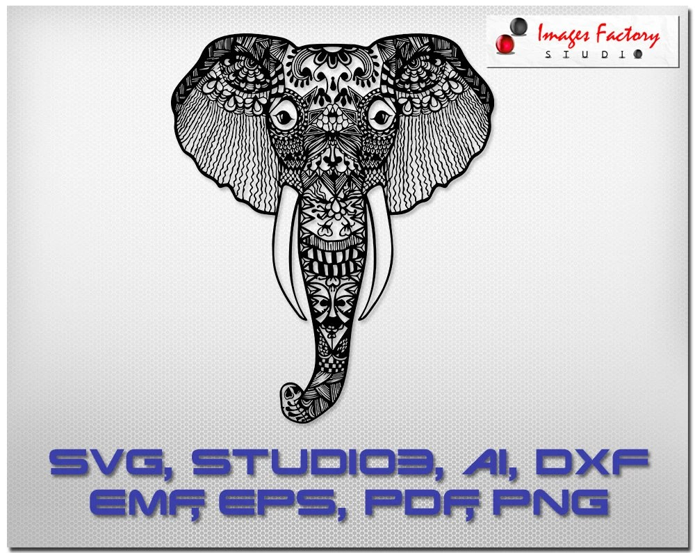 Download Elephant Zentangle svg mandala files cuttable Cricut Design