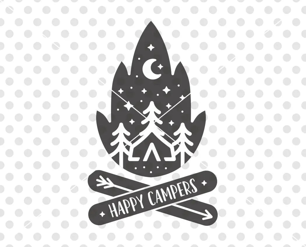 Happy Campers SVG DXF Cutting File Camper Svg Cutting File