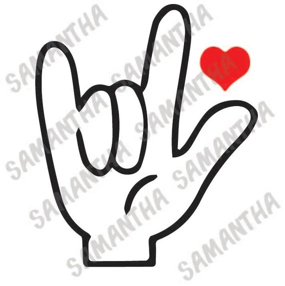 I love you in sign language heart valentines day Cameo ...