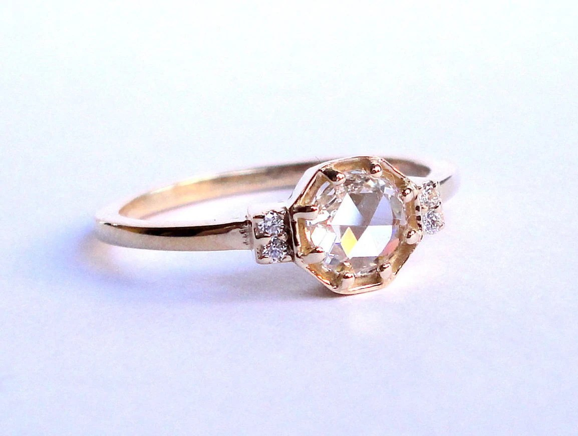 Rose Cut Diamond Octagon Ring Engagement Ring Wedding Band