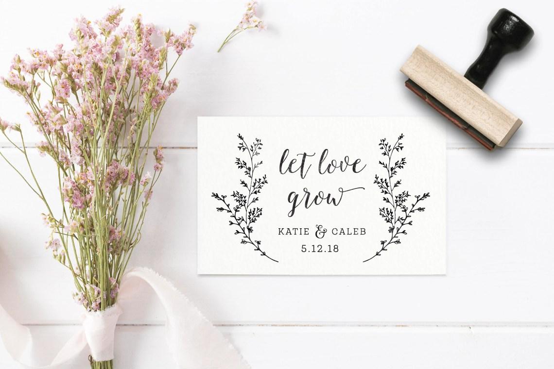 Download Let Love Grow Stamp Wedding Favor Stamp Seed Packet Favor