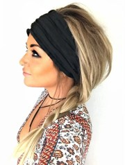 black scrunch headband extra wide