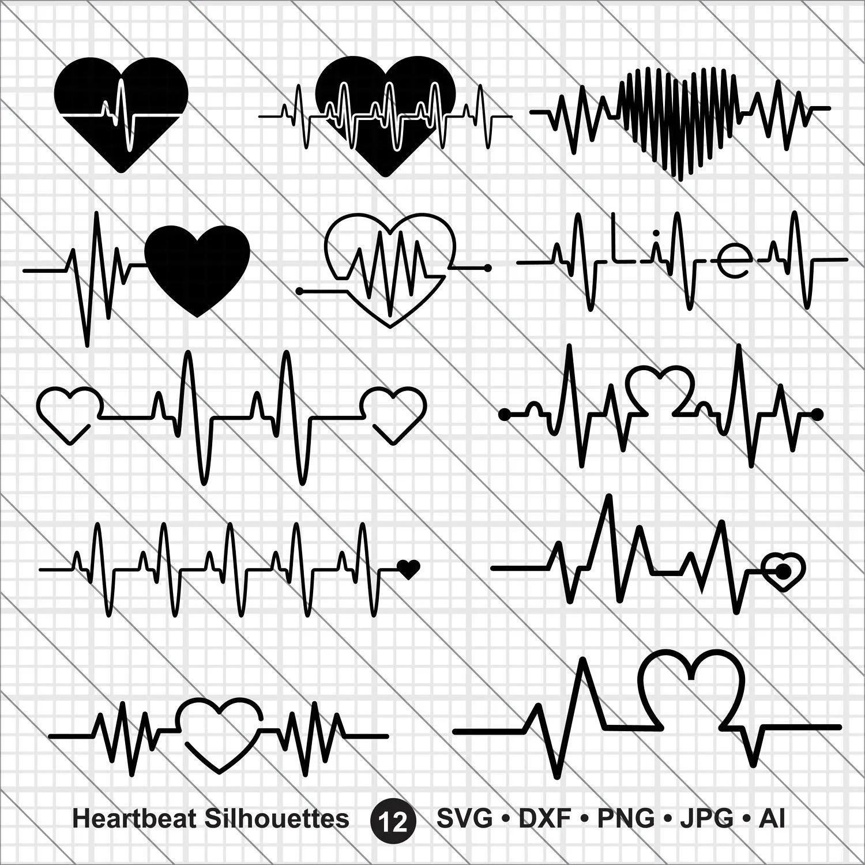 Heartbeat Silhouettes Svg Valentine Bundle Svg Heartbeat