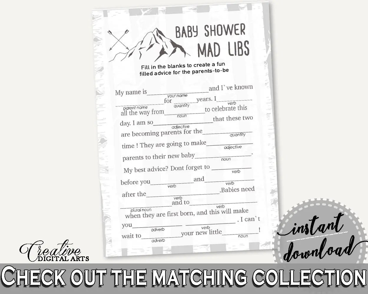 Mad Libs Baby Shower Mad Libs Adventure Mountain Baby Shower