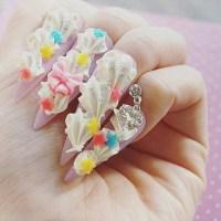Nails stiletto nails super long nails fairy kei by Aya1gou ...