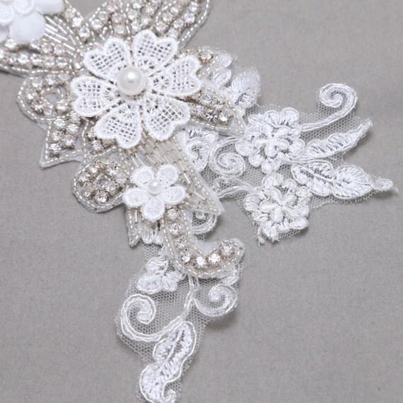 Off White Lace Applique, Flower Garter, Flower Rhinestone
