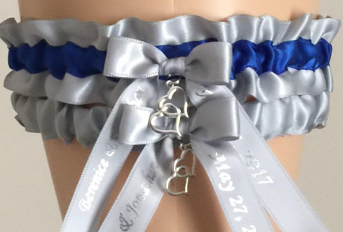Silver And Royal Blue Wedding Garter Set Choose Your Color