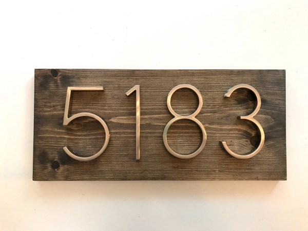 Modern Rustic Address Plaque Horizontal House Number