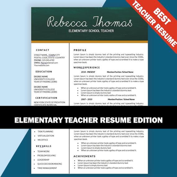 Elementary Teacher Resume CV Templates Teaching Resumes