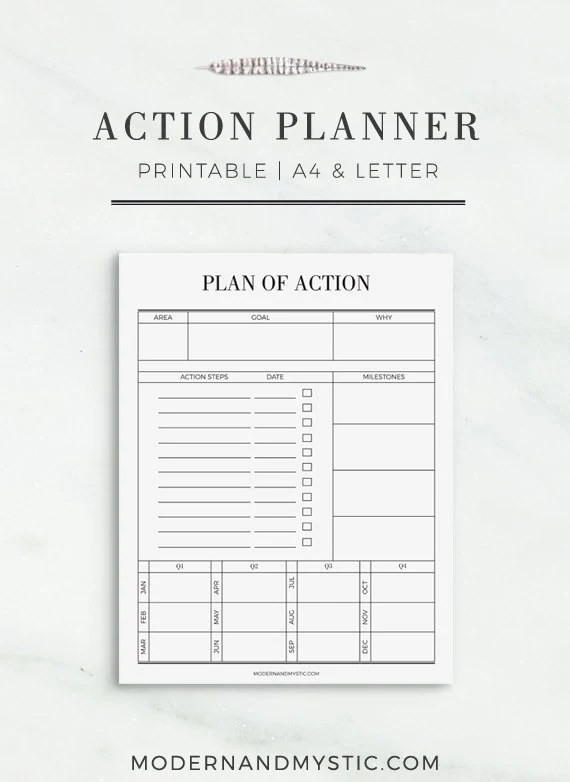 Action Planner Printable Printable Productivity Planner
