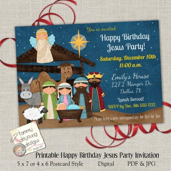 Christmas Party Invitation Happy Birthday Jesus Invite