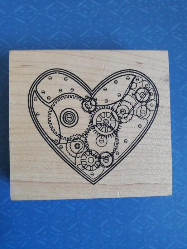 Gears Heart Steampunk Wood Mounted Rubber Stamp