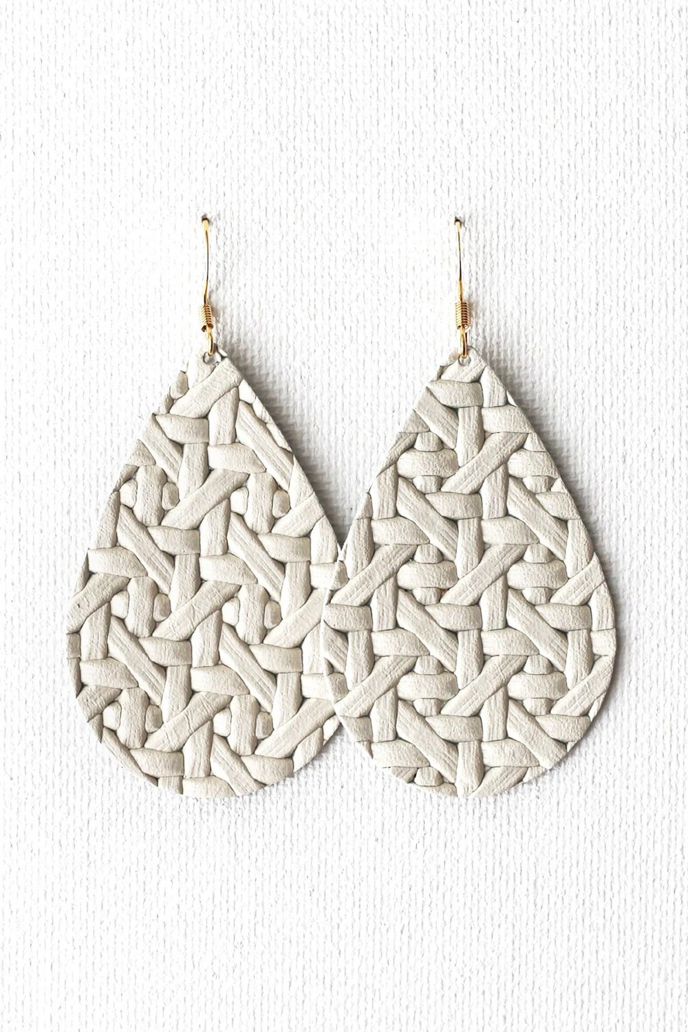 Cream Diamondweave Leather Tear Drop Earrings
