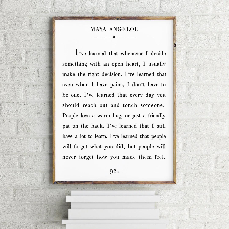 Maya Angelou Quote Print Custom Text Print Inspirational