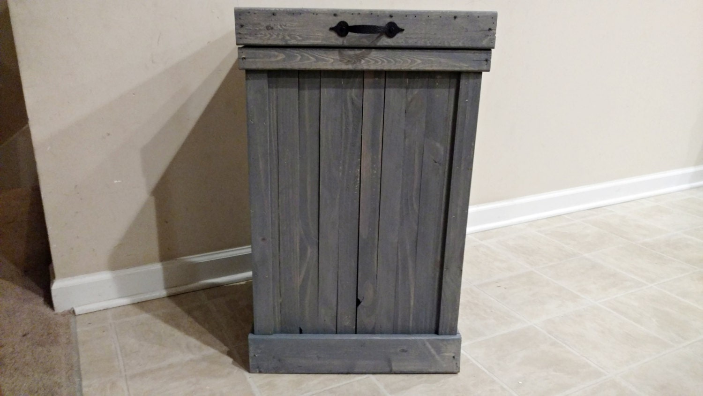 30 gallon kitchen trash can aid artisan mixer gray wash rustic wood bin