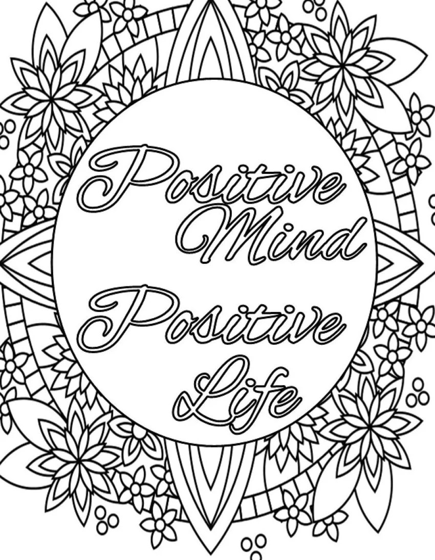 Inspirational Quote Coloring Page to Print and Color Adult