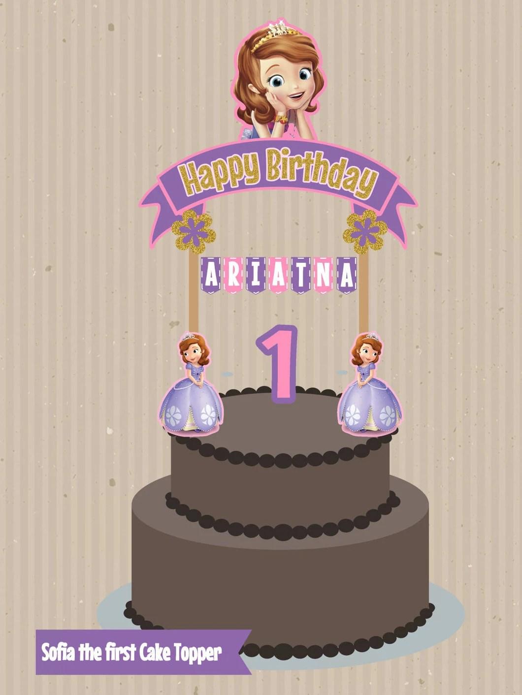 Sofia The First Cake Topper Banderin Para Torta Princess