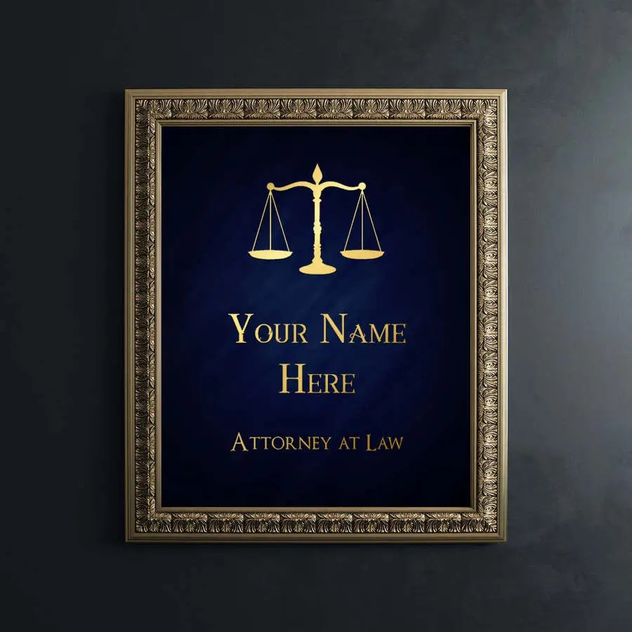 Law School Graduation Gift Personalized Lawyer Gift Gold