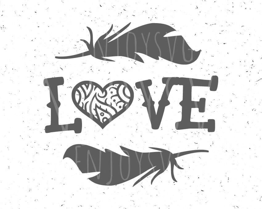 Download Love svg file Heart svg Arrow svg Love SVG Boho svg Feathers