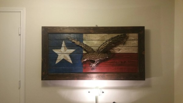 Rustic Texas Flag With Eagle Wall Art Decor