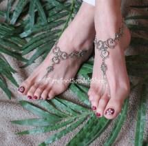 Women' Silver Heart Barefoot Sandals Wedding Anklet Sized