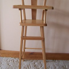 High Chair For Dolls Cane Seat Chairs Antique Vintage Wooden Doll Baby Highchair