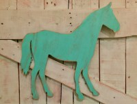 Distressed bright turquoise horse wood equestrian wall art