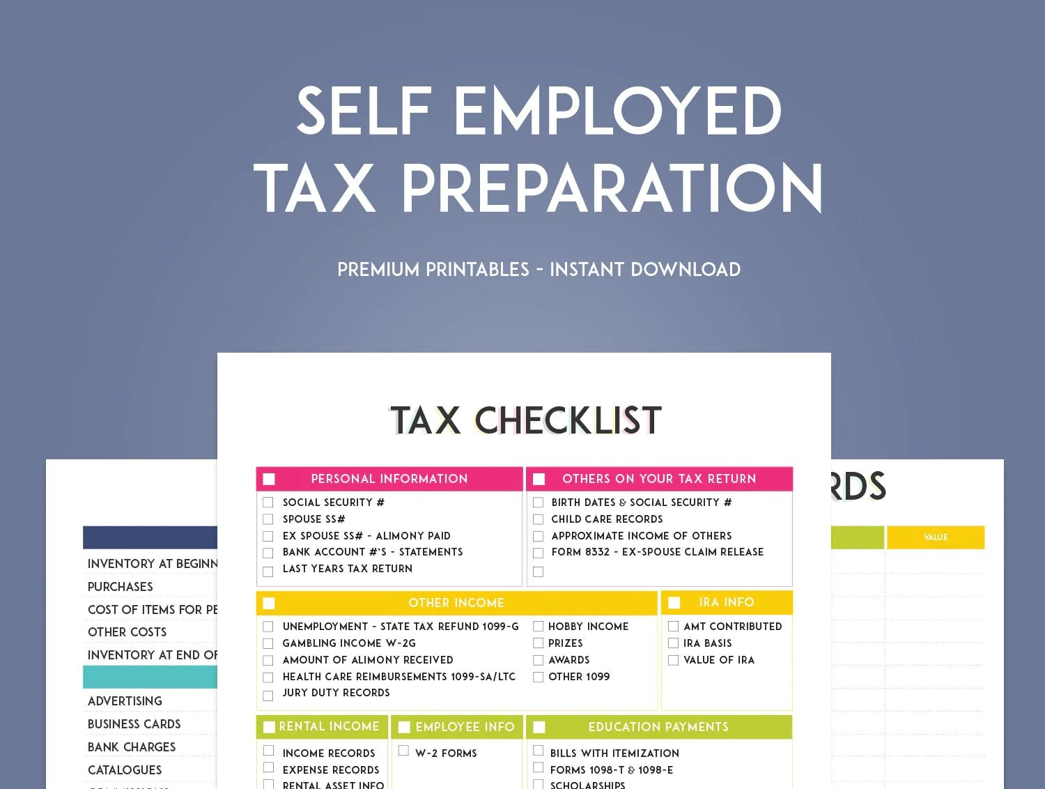 Self Employed Tax Preparation Printables By Sweetpapertrail
