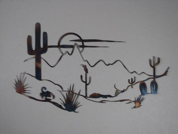 Southwestern Mountain Desert Metal Art Wall Sculpture