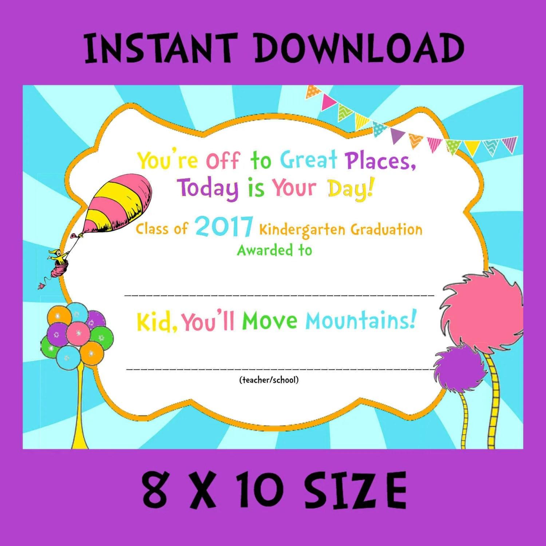Kindergarten Graduation Certificate 8x10 Instant Download