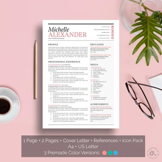 Resume Template Feminine Design Creative Resume Template Word