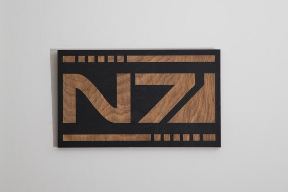 Mass Effect - N7 - Engraved Wood Wall Art