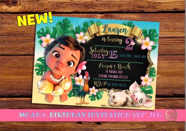 Moana Baby Birthday Invitations