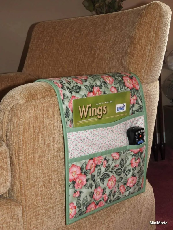 Quilted Armchair Caddy Bedside Green With Pink Wild