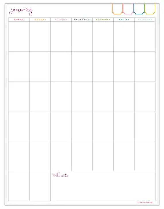 12 Month Portrait Calendar Printable INSTANT DOWNLOAD