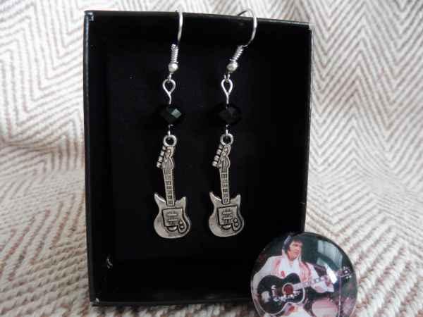 Elvis Presley Guitar Dangle Earrings. Rock Roll